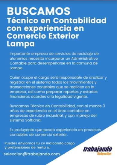 Noticia Oferta Laboral Técnico en Contabilidad Lampa