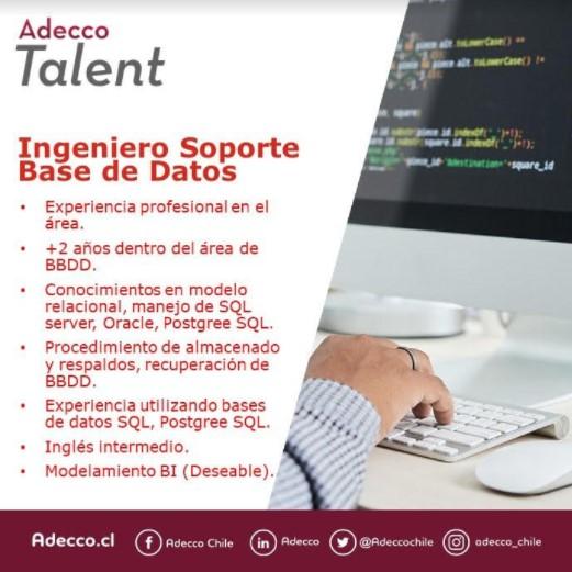 Noticia  Búsqueda: Ingeniero de Soporte de Base de Datos
