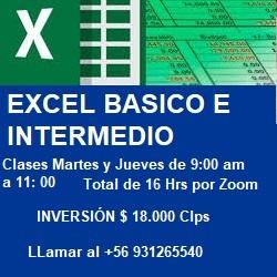 publicidad TALLER DE EXCEL BASICO E INTERMEDIO  CLASES MARTES Y JUEVES DE 9 a 11 am